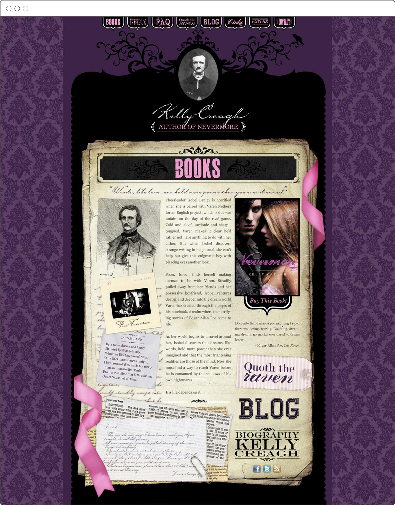 Kelly Creagh, young adult author, website design