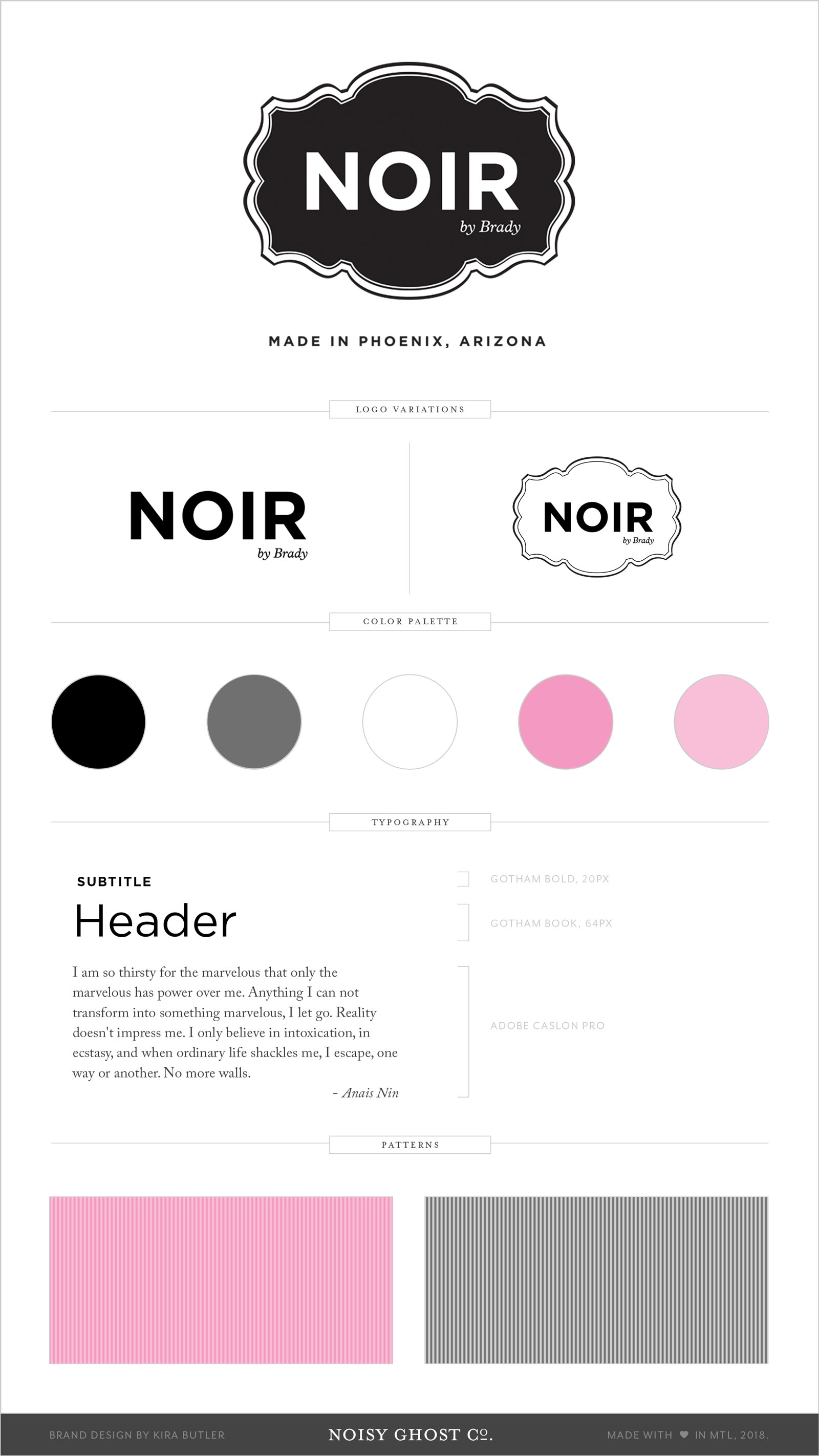 Brand and identity design for Noir by Brady, by Noisy Ghost Co.
