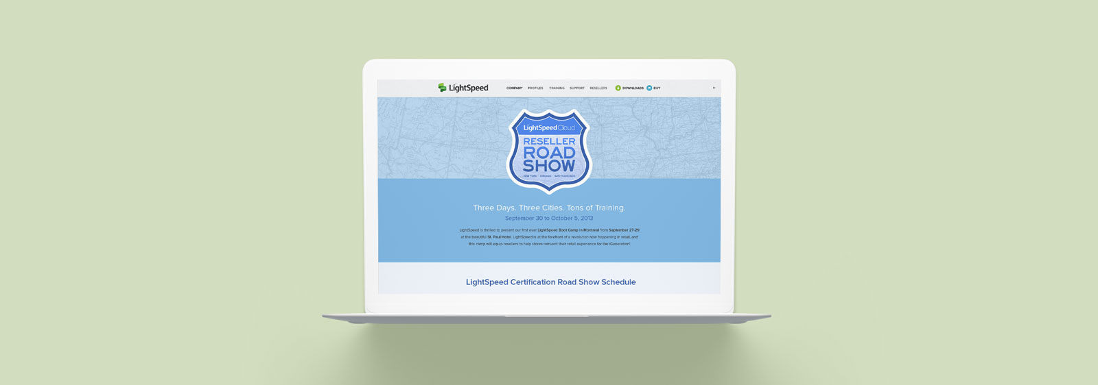 Lightspeed Reseller Road Show Website designed by Noisy Ghost Co.