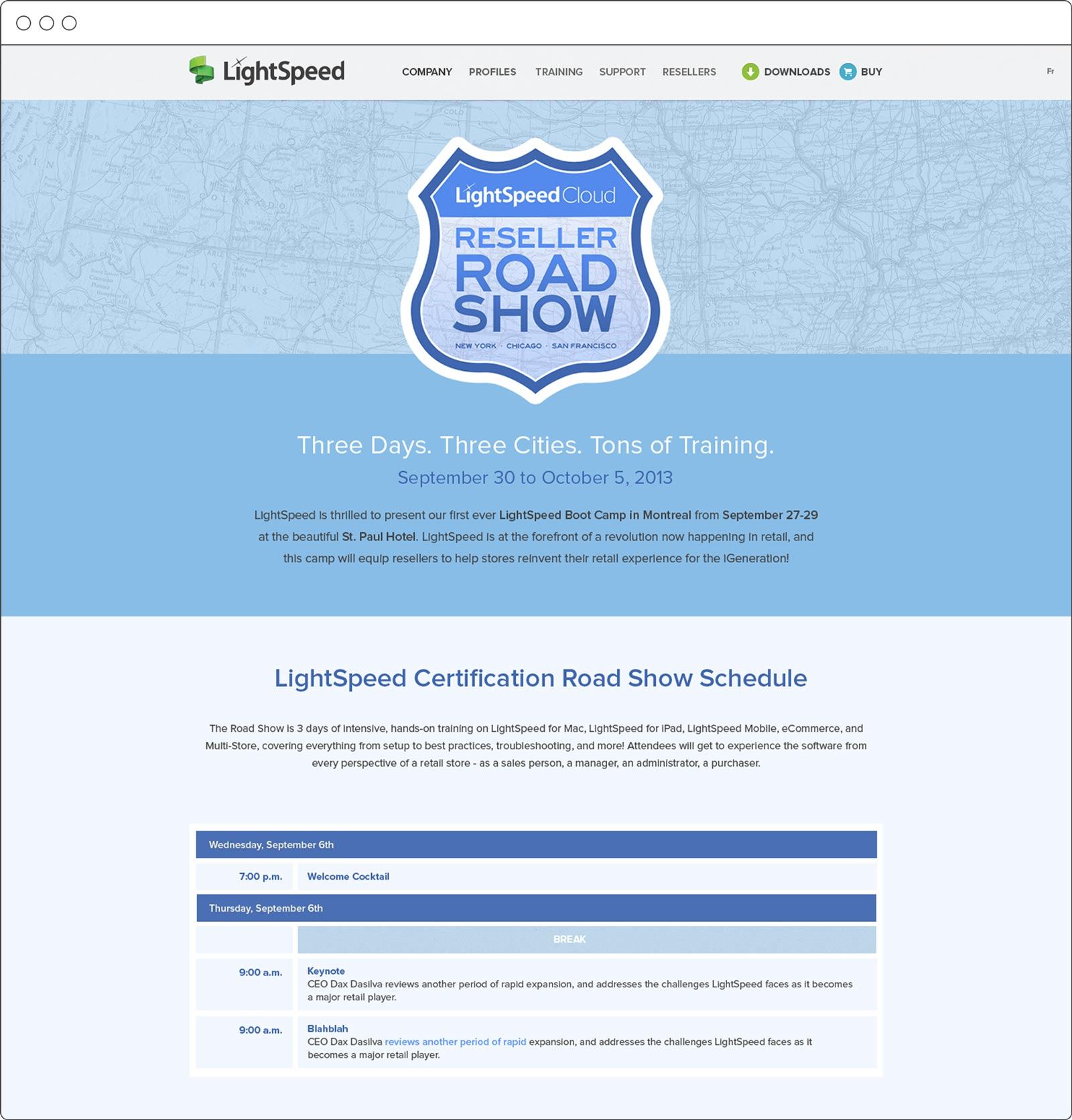 Website design for Lightspeed Reseller Road Show by Noisy Ghost Co.