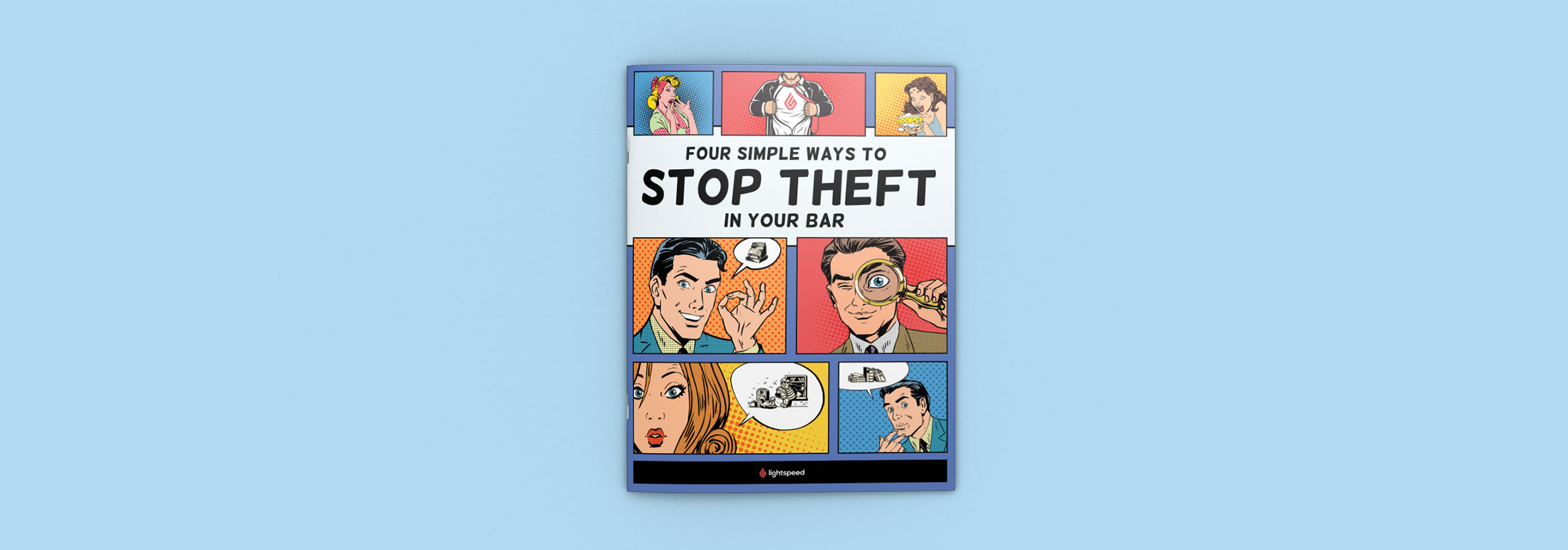 "Graphic design for Lightspeed's ""Stop Theft"" white paper by Noisy Ghost Co."