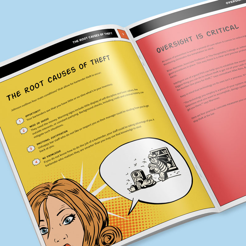 """Graphic design for Lightspeed's """"Stop Theft"""" whitepaper by Noisy Ghost Co."""