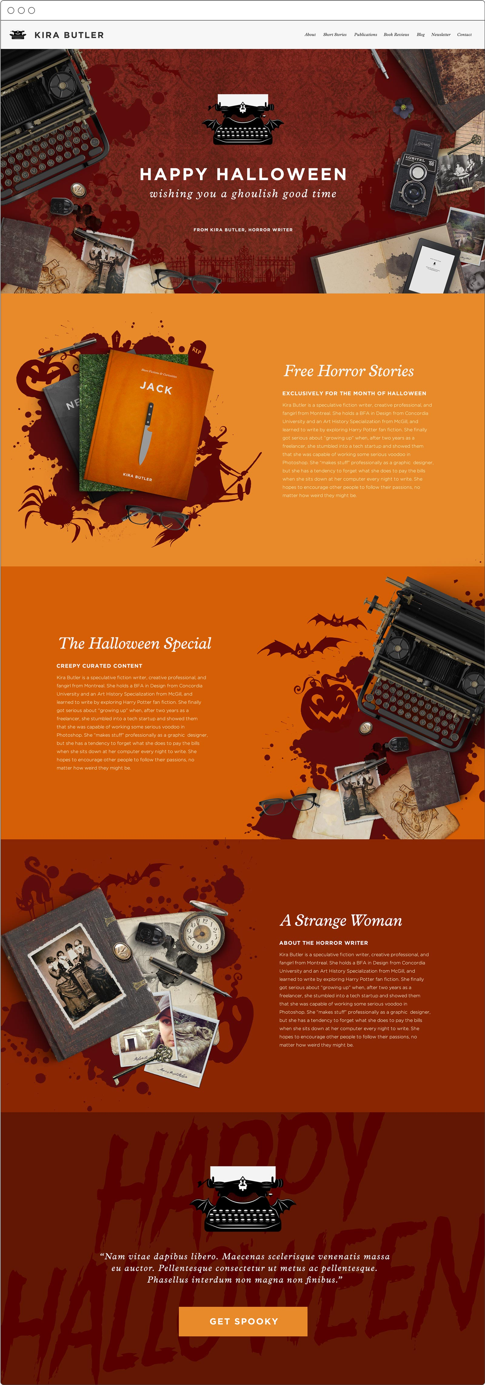 Website Design for KiraButler.com's Halloween Horror Special, YA Author