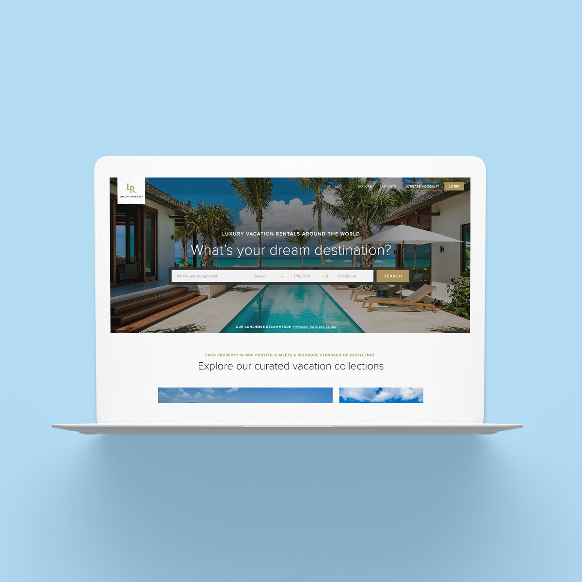Luxury Retreats W3 Desktop Website Design