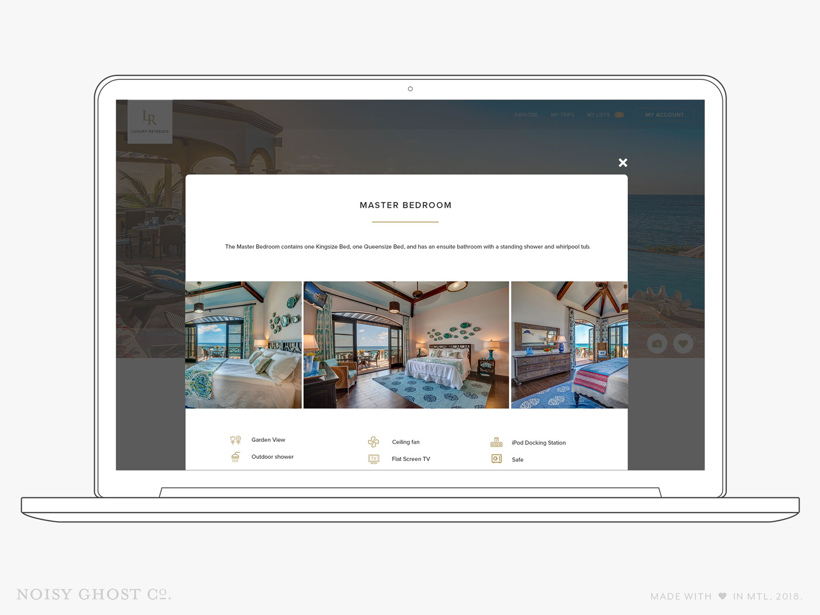 Luxury Retreats W3 travel website design by Noisy Ghost Co.