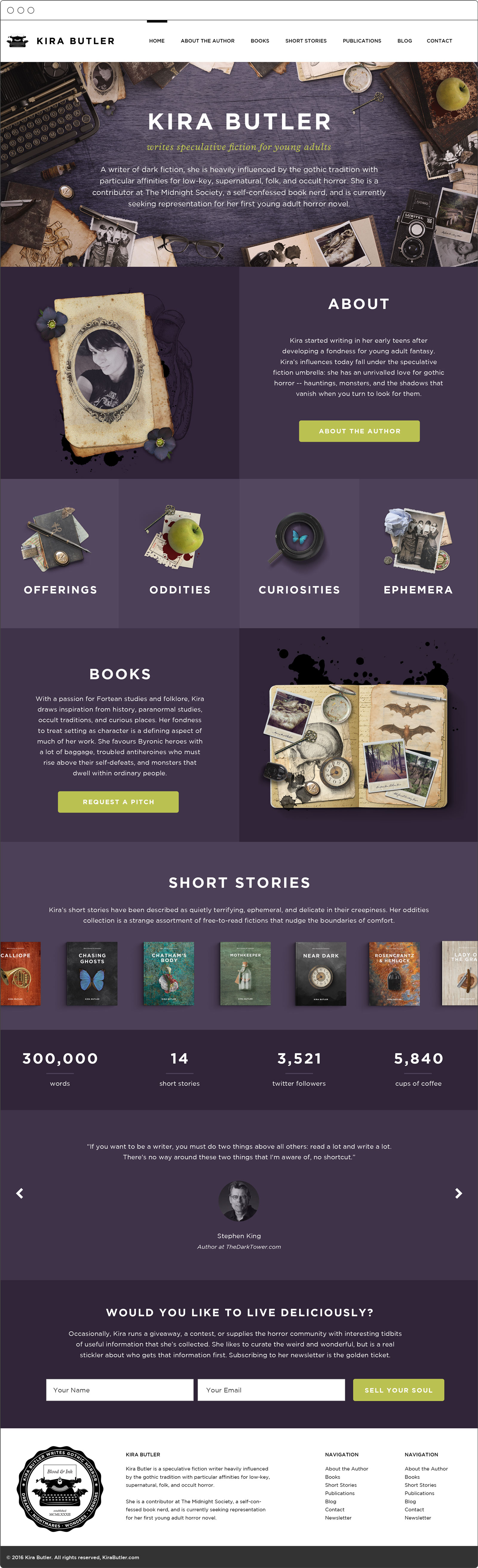 Website Design for KiraButler.com, YA Author