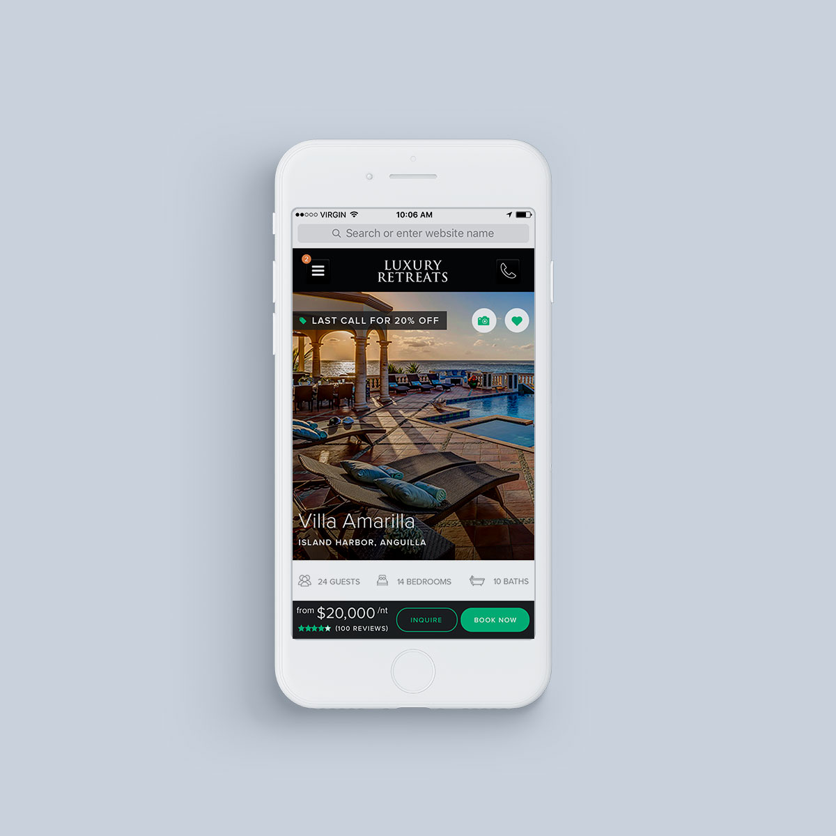 Luxury Retreats W2 Mobile Product Detail Page