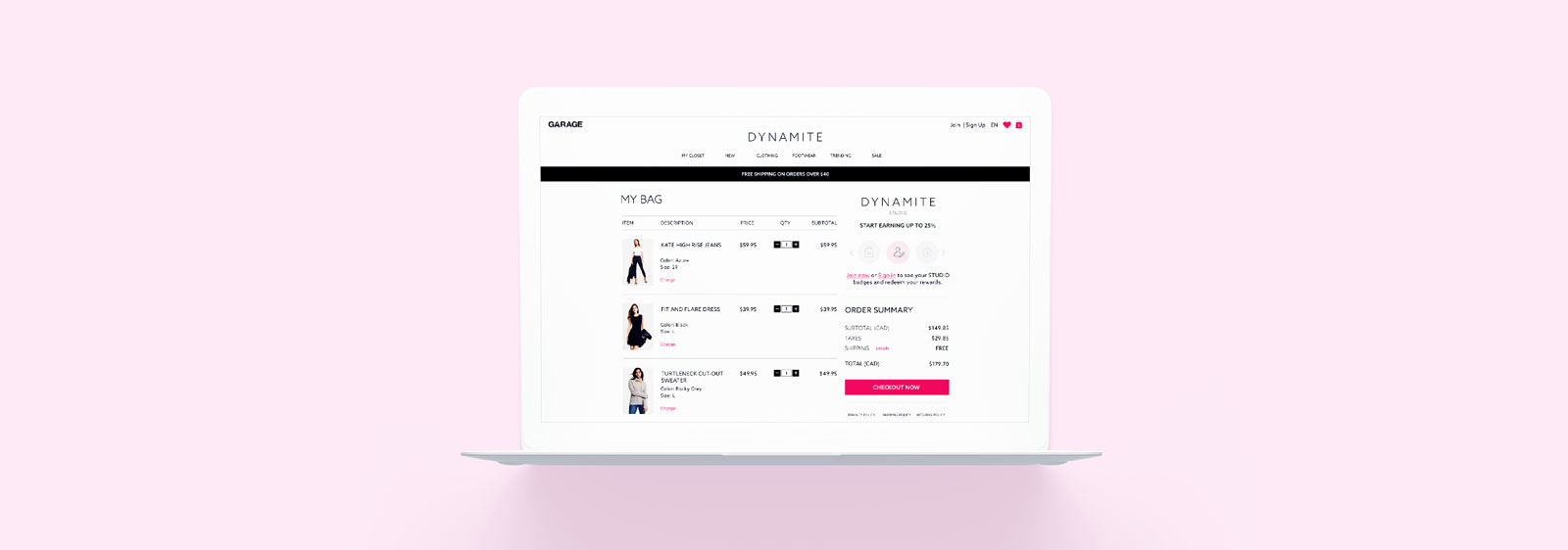 Dynamite eCommerce Checkout design by Noisy Ghost Co.