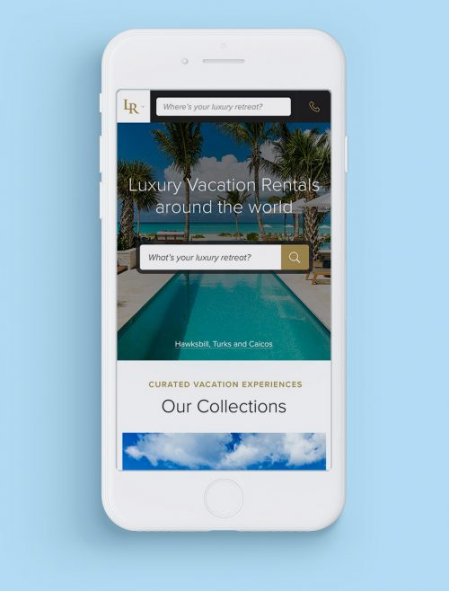 Luxury Retreats W3 Mobile travel website design by Noisy Ghost Co.