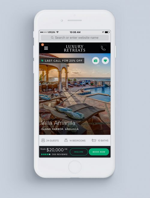 Luxury Retreats Mobile Product Detail Page UX Design by Noisy Ghost Co.