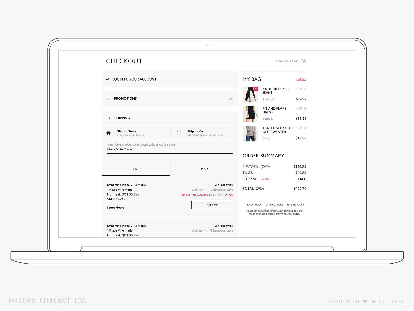 Dynamite eCommerce Checkout - Ship to Store