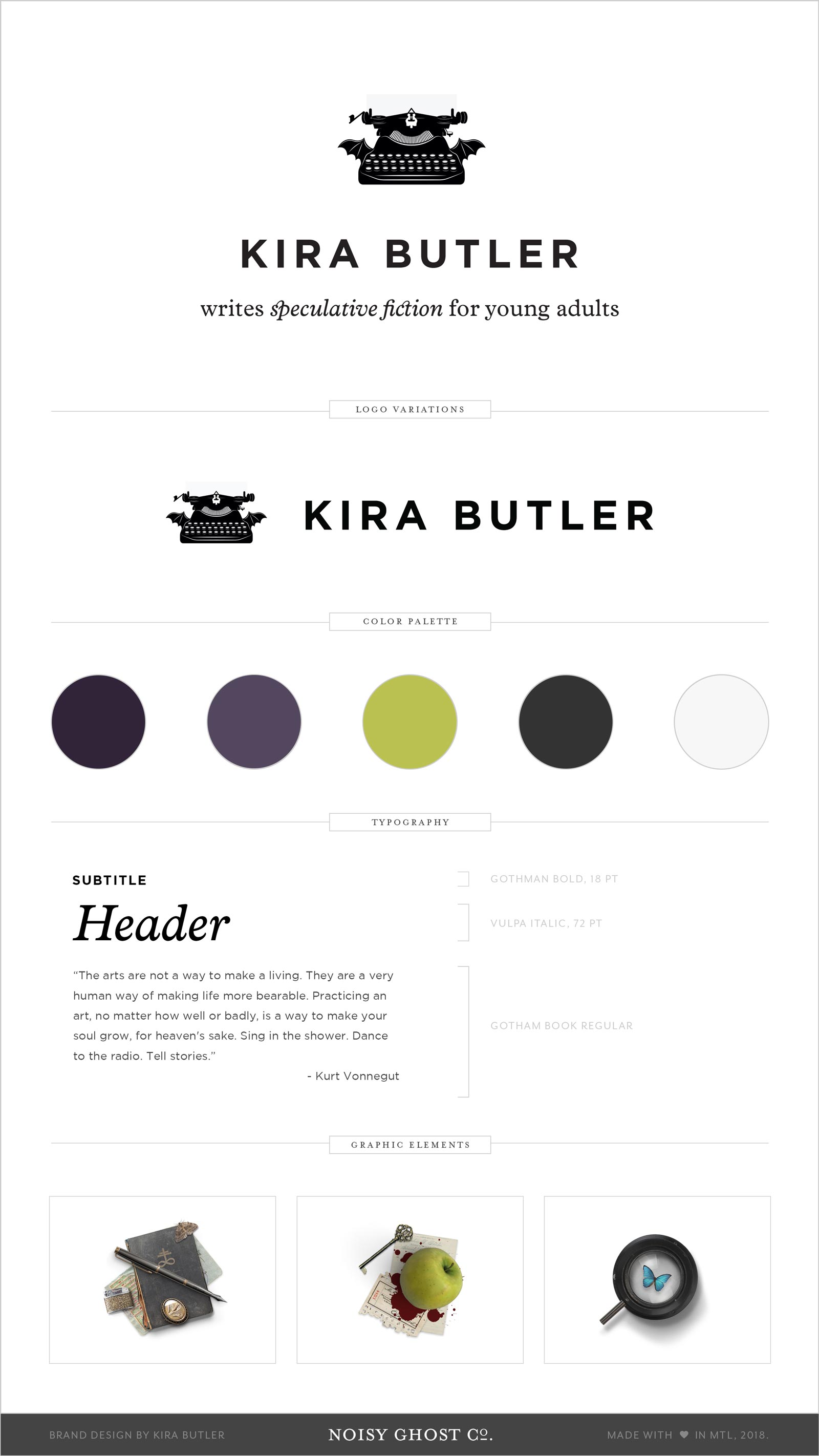 Brand and Logo Design for YA Horror and Fantasy Author, Kira Butler