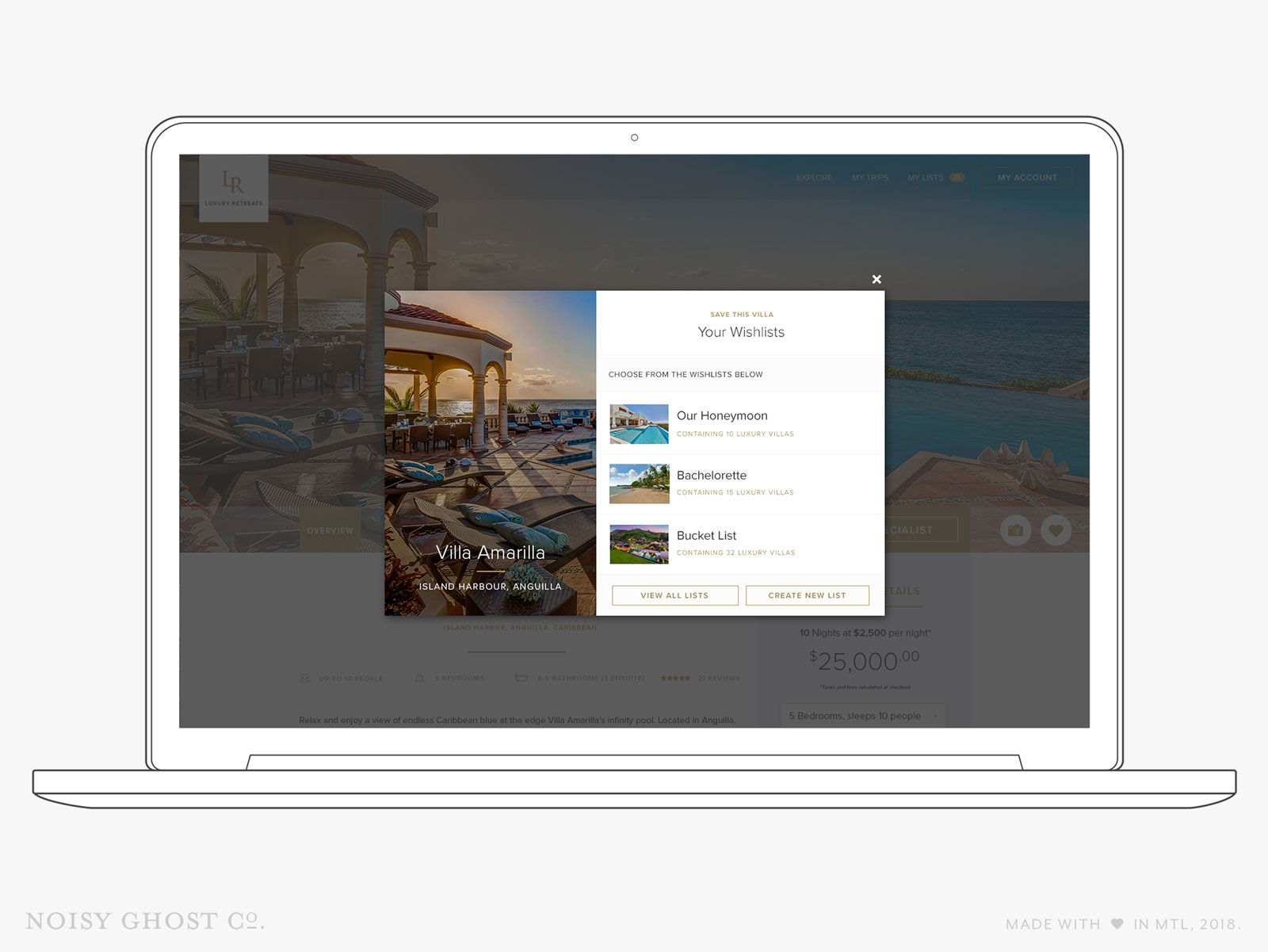 Luxury Retreats travel website design by Noisy Ghost Co.