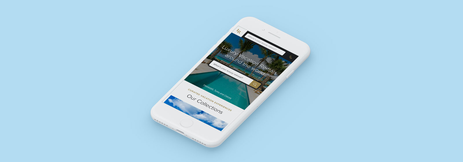 Luxury Retreats mobile website design by Noisy Ghost Co.