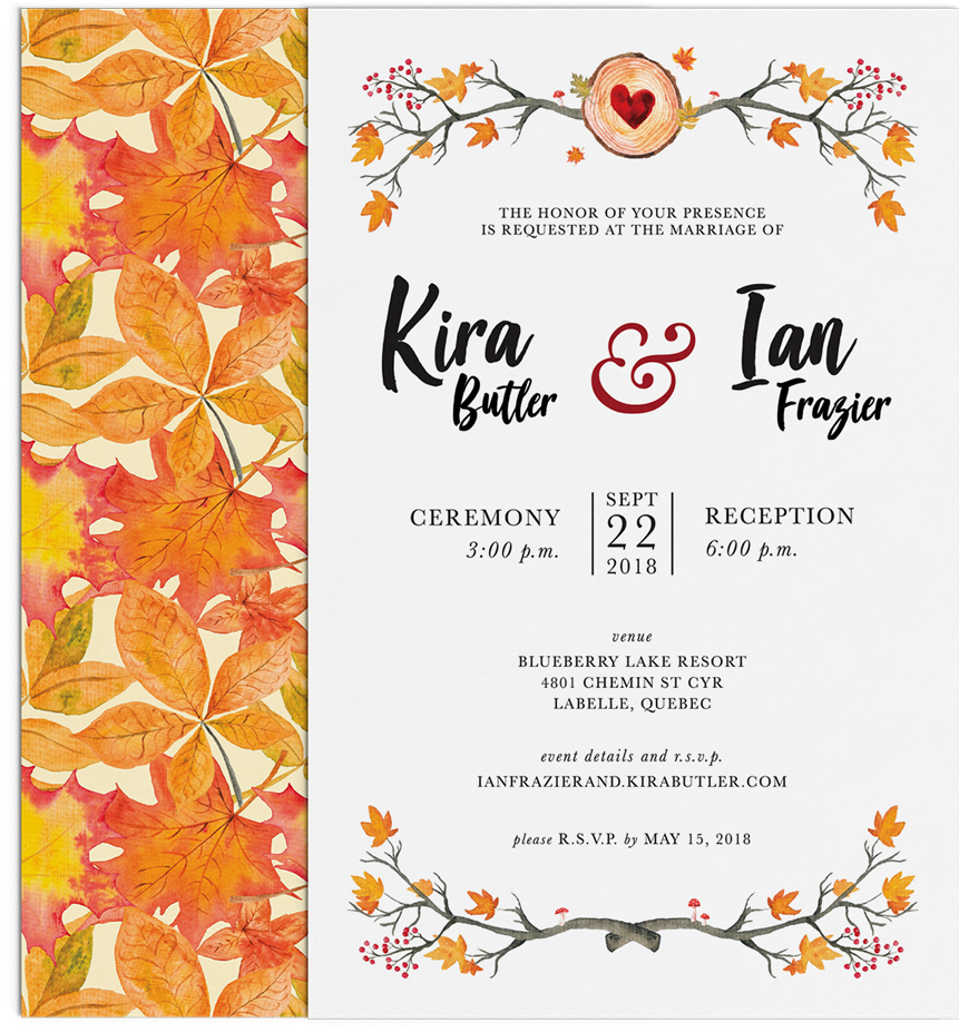 Autumn Wedding Invitation design by Noisy Ghost Co.
